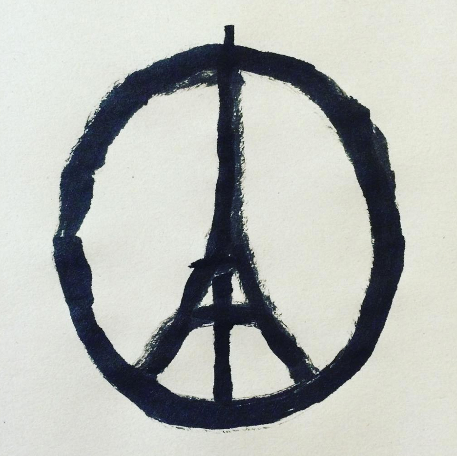 Jean Jullien illustration Peace for Paris attacks dezeen square